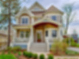 Three story Victorian port cochere custom home design in Glen Ellyn, IL