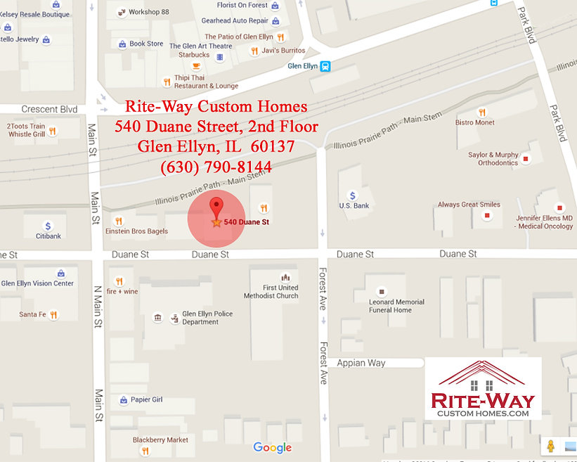 Detailed Glen Ellyn IL map to Rite-Way Custom Homes
