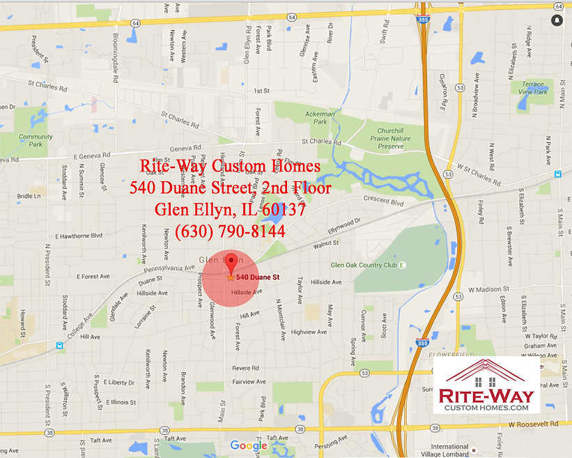 Map to Rite-Way Custom Homes in Glen Ellyn, IL