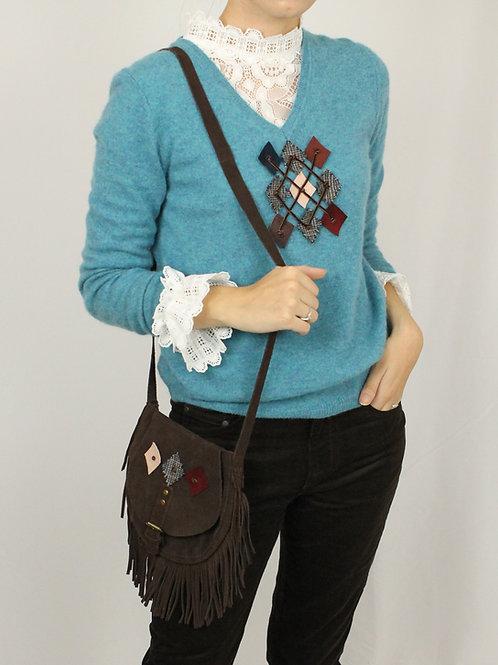 Turquoise Cashmere Argyle Sweater