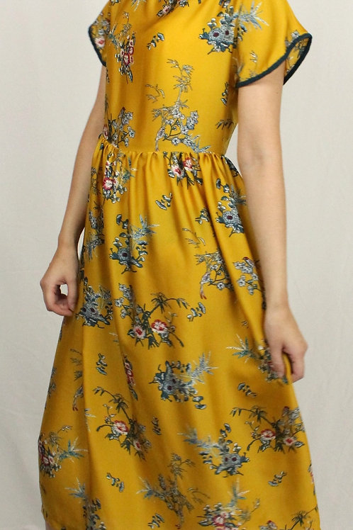 Mustard Dress with Teal Trim