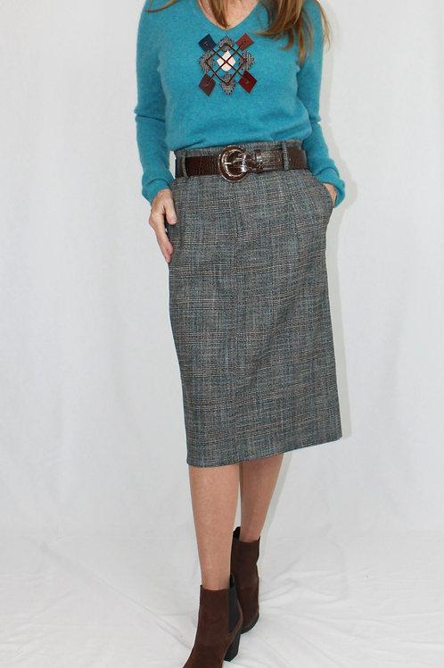 Pleated Brown Plaid Skirt