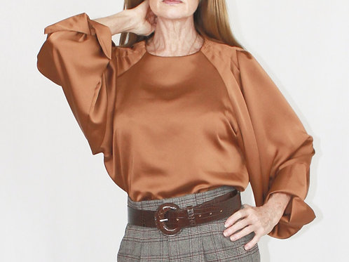 Brown Satin Blouse