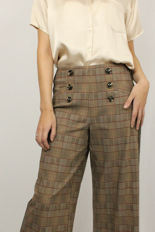Brown Flat-Front Cropped Pants