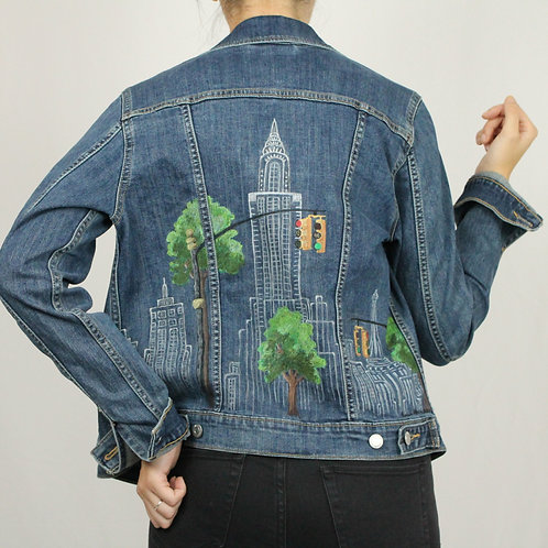 Blue Denim Hand-Painted Jacket