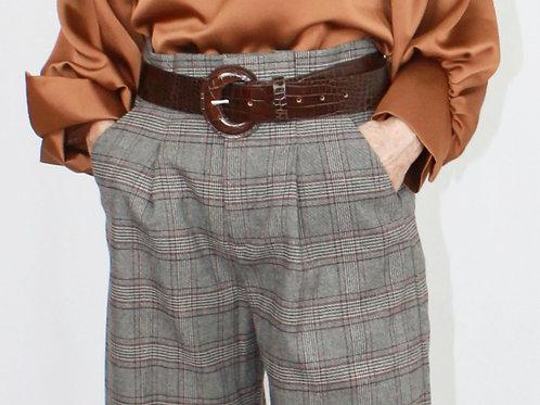 Brown Plaid Pleated Pants