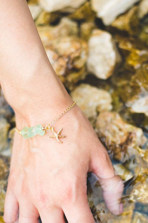 3-Stone Gold Starfish Bracelet