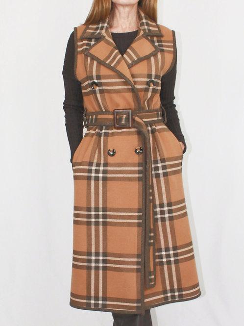 Brown Plaid Sleeveless Coat