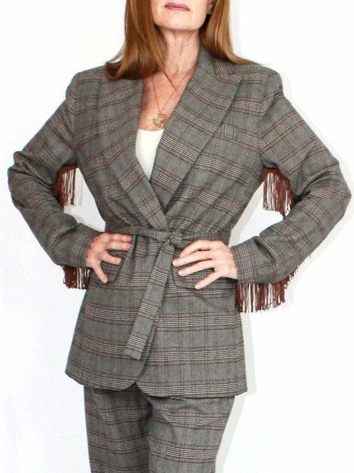 Brown Plaid Fringe Jacket