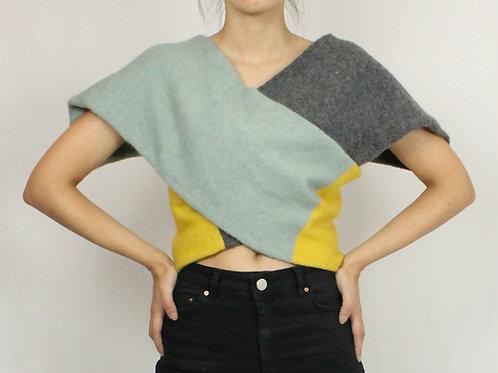 Tri-Color Wrap Sweater