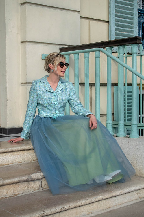 Turquoise Tulle Layered Skirt