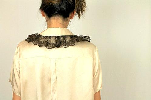 Cream Ruffled Collar Blouse