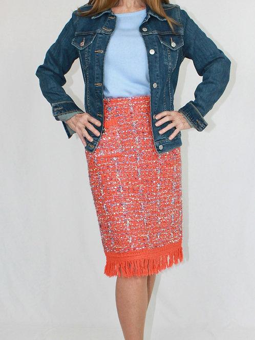 Orange Fringe Skirt