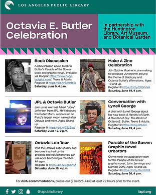 a flyer for octavia e. butler event with la public library