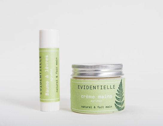 """Set """"Agrumes"""" crème mains & baume à lèvres"""