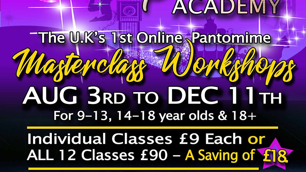 British Pantomime Academy Online x 12 Workshops