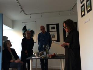 poet Lynn Davidson reading at the opening of 'no still life' on Friday evening