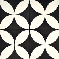 Encaustic - A118 Lrg Blk white frangipani