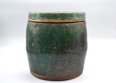 Antique Green Pot with lid