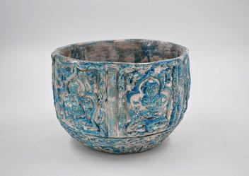 Low blue iranian vase
