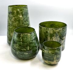 Green Marbled Vases