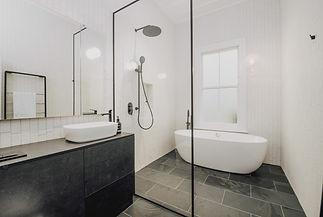 Black slate vanity and Floor - 600 x 300 x 10 with E brick Blanco porcelain bricks 60 x 25