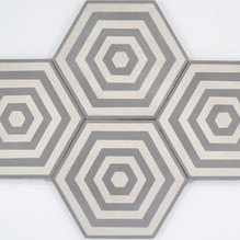 Hex Encaustic Grey and white 200x230x16mm