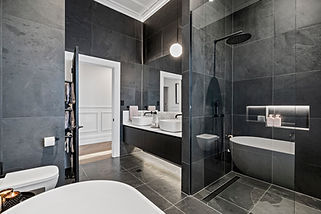Black Slate 600 x 600 natural finish with Biello marble slab. Casabath Vanity & Cool s bas