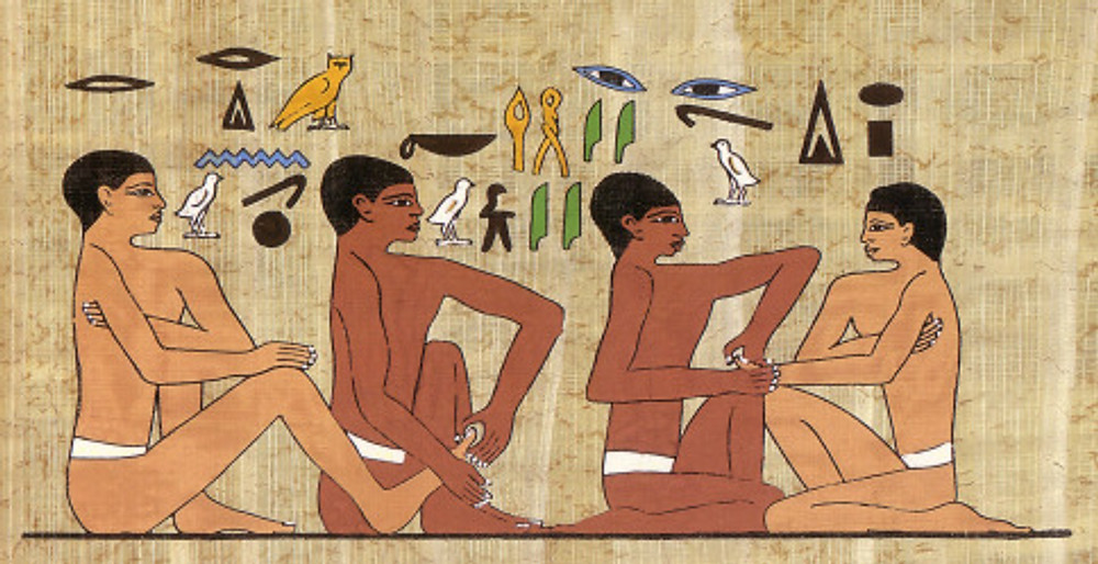 Painting from a wall in physician's tomb in Saqqara, Egypt. 2330 B.C.E.