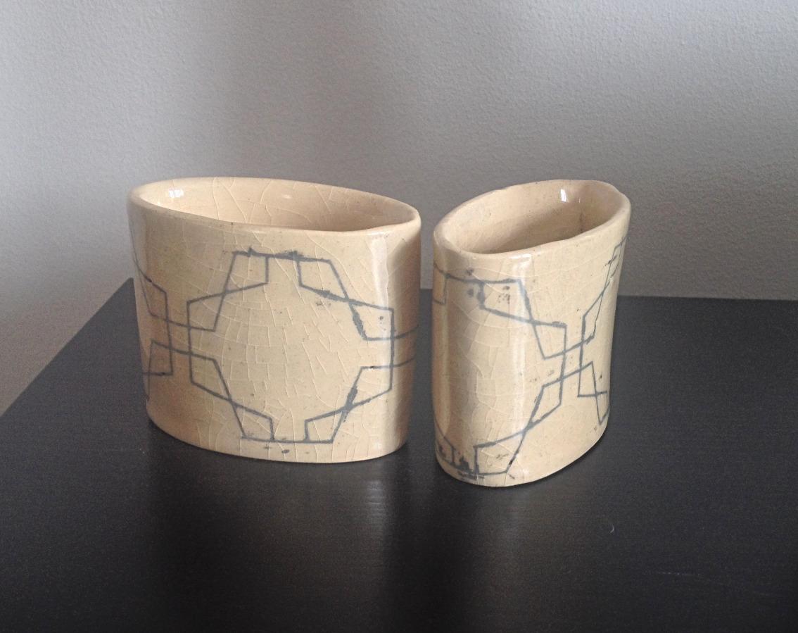 Folk Art Oval Cups