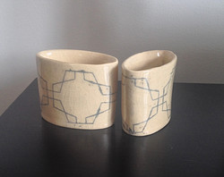 Folk Art Oval Cups