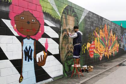 Paredão da CPTM Estação Barra Funda ganha arte