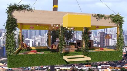 Jardim suspenso é içado a 30 metros de altura no Largo da Batata