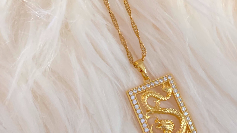 Gold Dragon Pendant Necklace with Cubic Zirconia