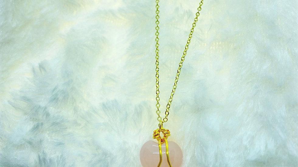 Pink Heart Rose Quartz Crystal Necklace