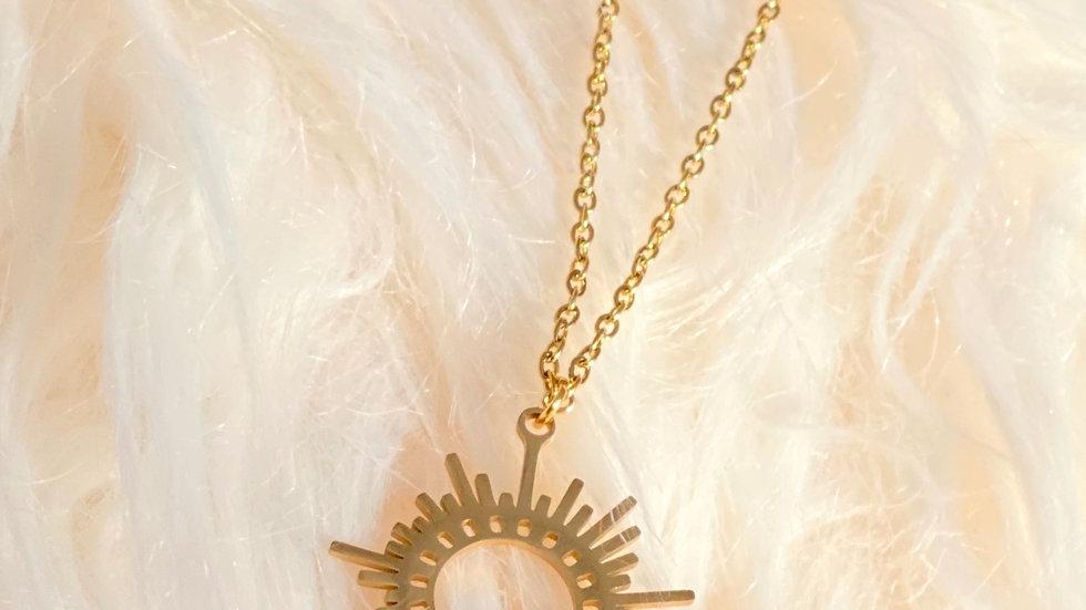 Gold Sun Pendant Necklace