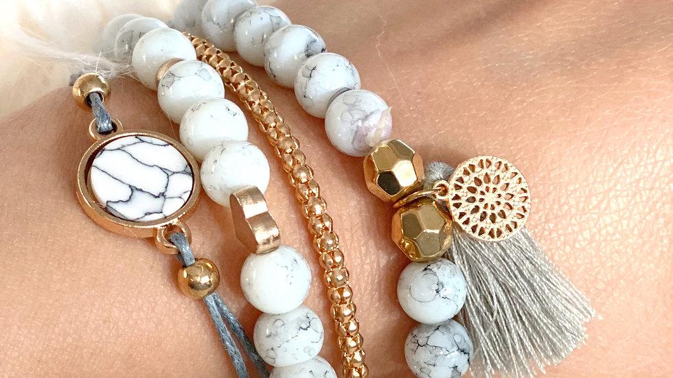 White Marble Bracelet Set