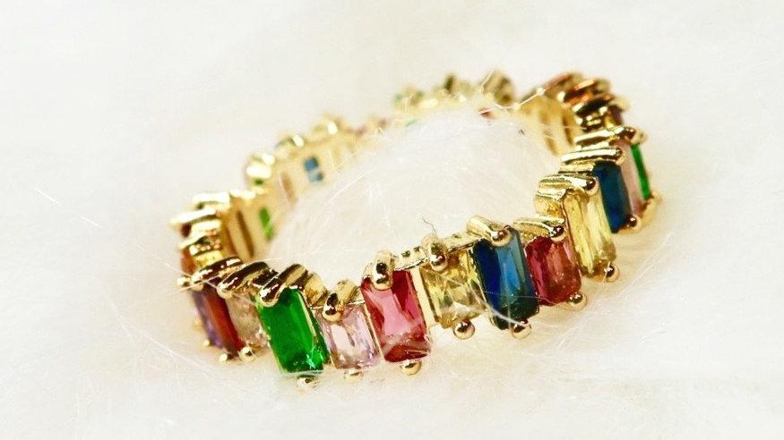 Thin Rainbow Crystal Ring Band
