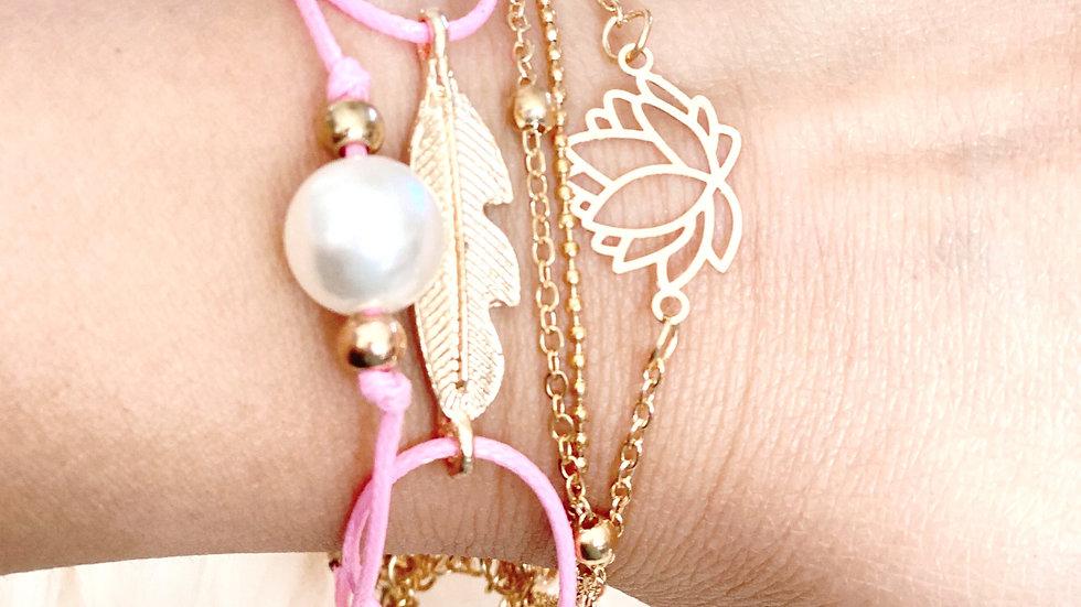 5pc pink lotus bracelet