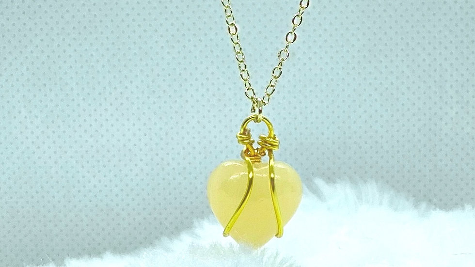 Gold Plated Necklace with Heart Yellow Jade Stone Pendant