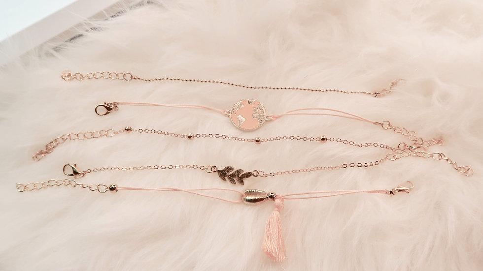 Pink Earth Bracelet Set