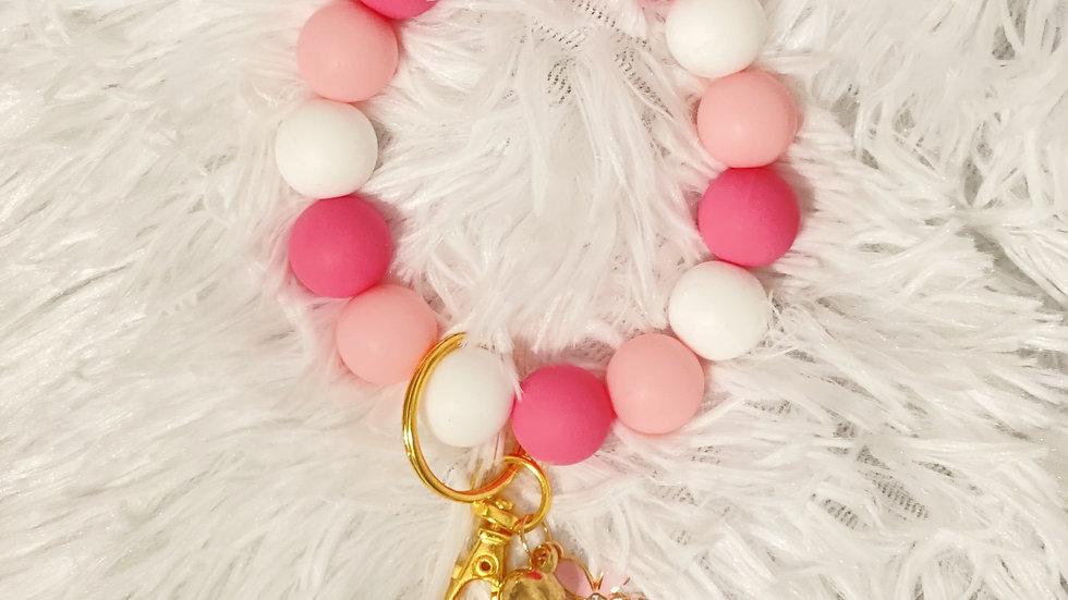 Pink Flower Silicone Keychain Bracelet