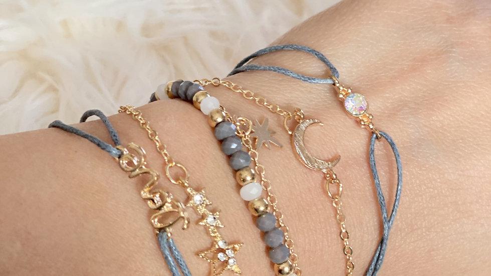 Moon & Stars Bracelet Set