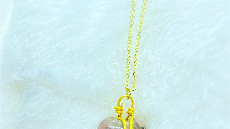 Gold Plated Necklace with Heart Rhodonite Crystal Stone Pendant