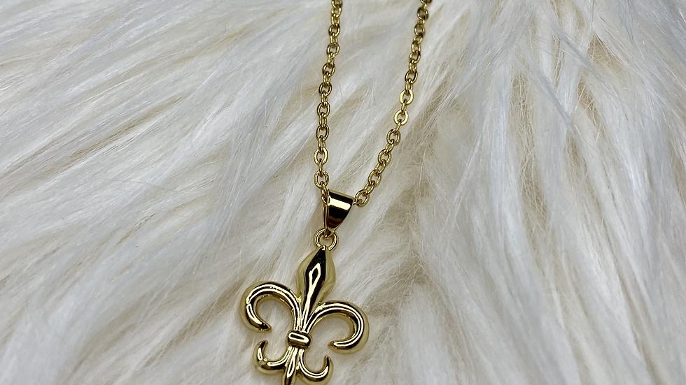 Gold Filled Necklace with Fleur De Lis Pendant