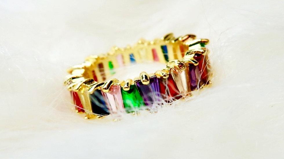 Rainbow Crystal Ring Band