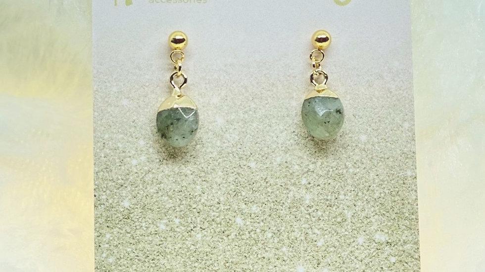 Natural Labradorite Charm Earrings