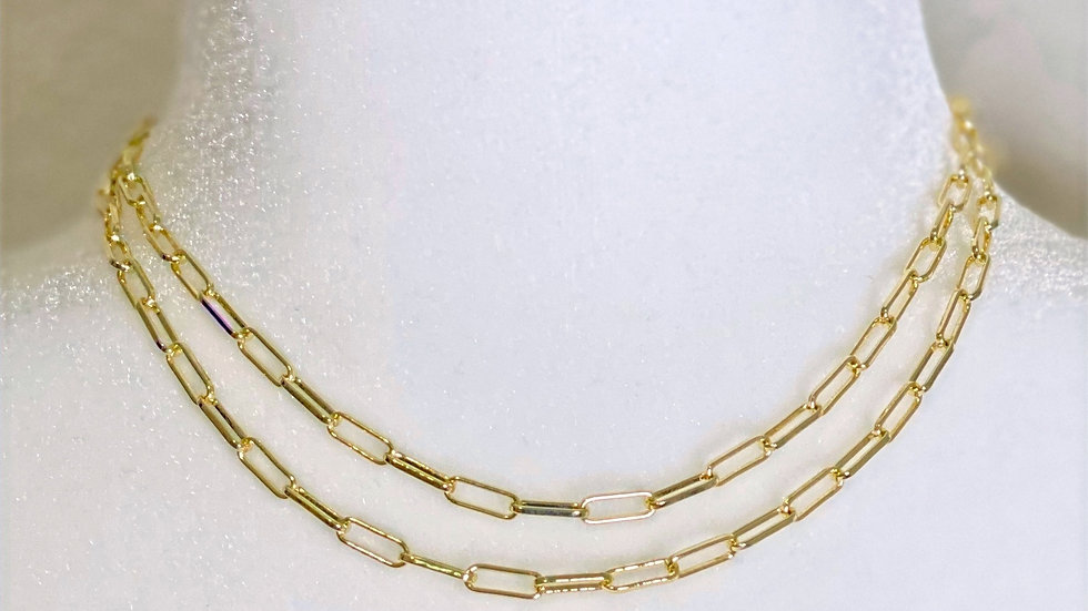14K Gold Plated Paper Clip Necklace
