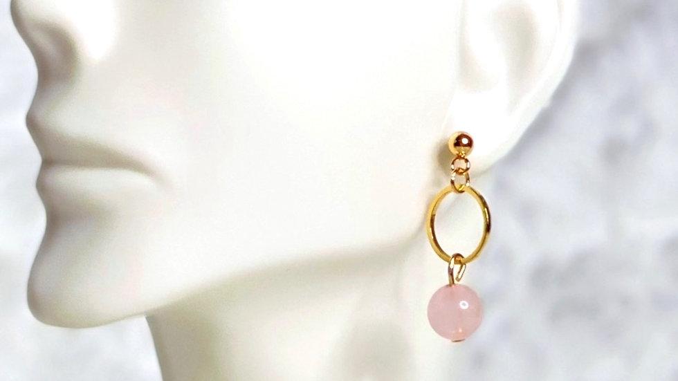 Rose Quartz Bead Earrings