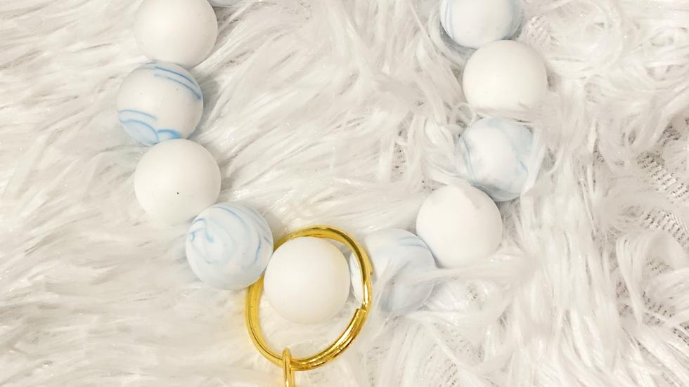 Blue Marble Silicone Keychain Bracelet